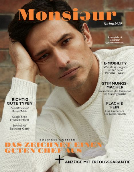 Andrés Velencoso on the cover of Monsieur Germany April 2020